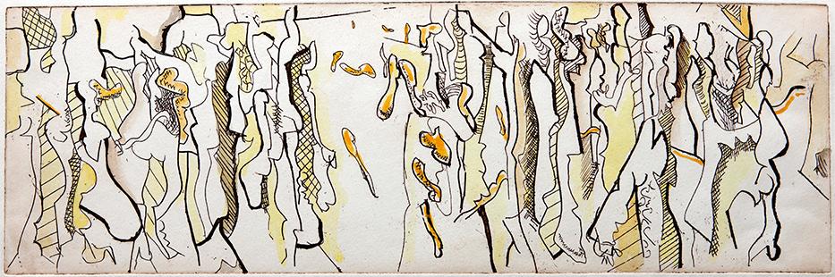 Disintegrating Group II  1967, 16.5 x 50 cm, etching