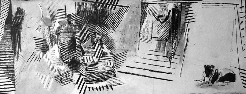 Interior with Dog  1984-5, 173 x 459 cm