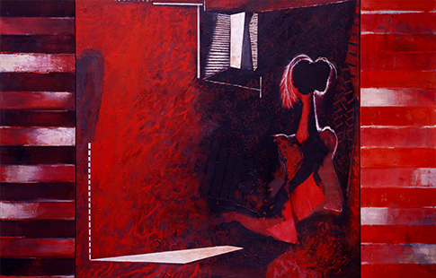 Red Interior With Mirror  1989-2000, 153 x 234 cm