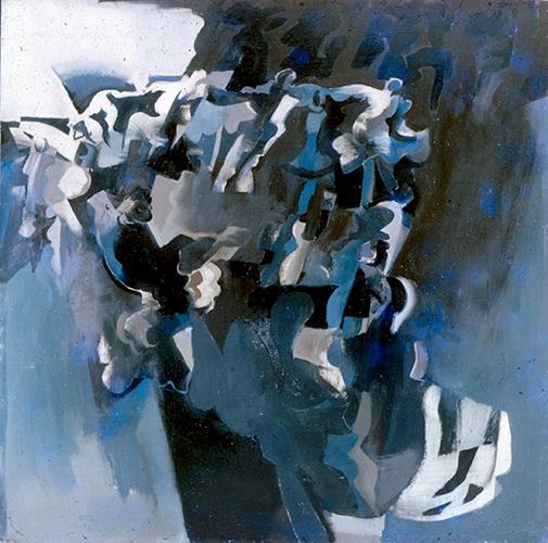 Blue Dancers  1964, 91 x 91 cm, oil on board