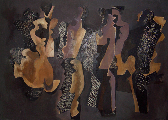 Dancing Figures (Disintegrating)  1963-4, 152 x 211 cm, oil on board
