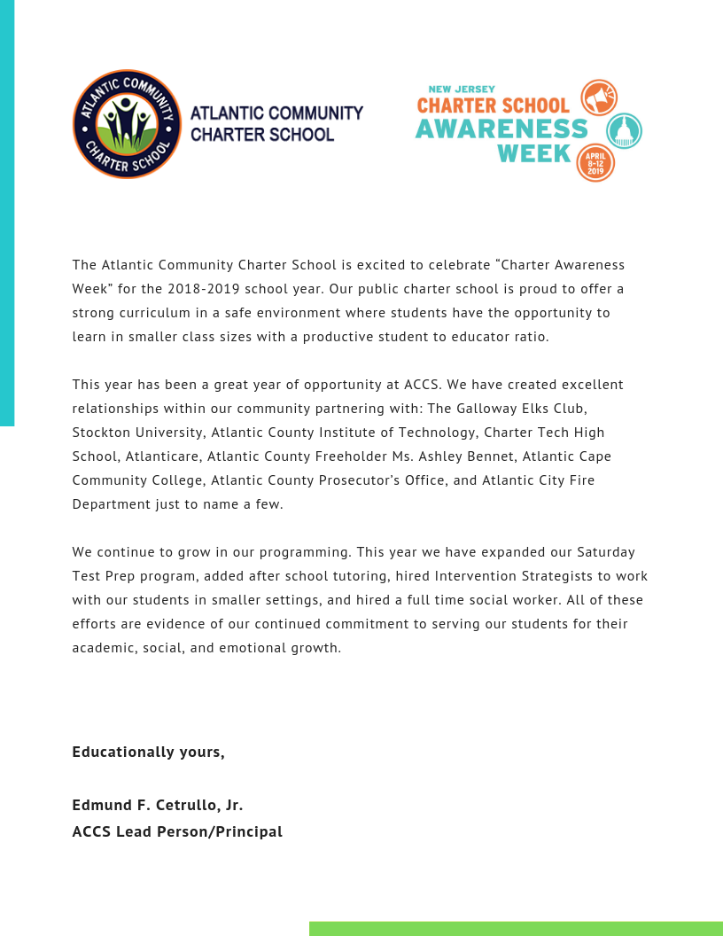 "The Atlantic Community Charter School is excited to celebrate ""Charter Awareness Week"" for the 2018-2019 school year. Our public charter school is proud to offer a strong curriculum in a safe environment where studen.png"