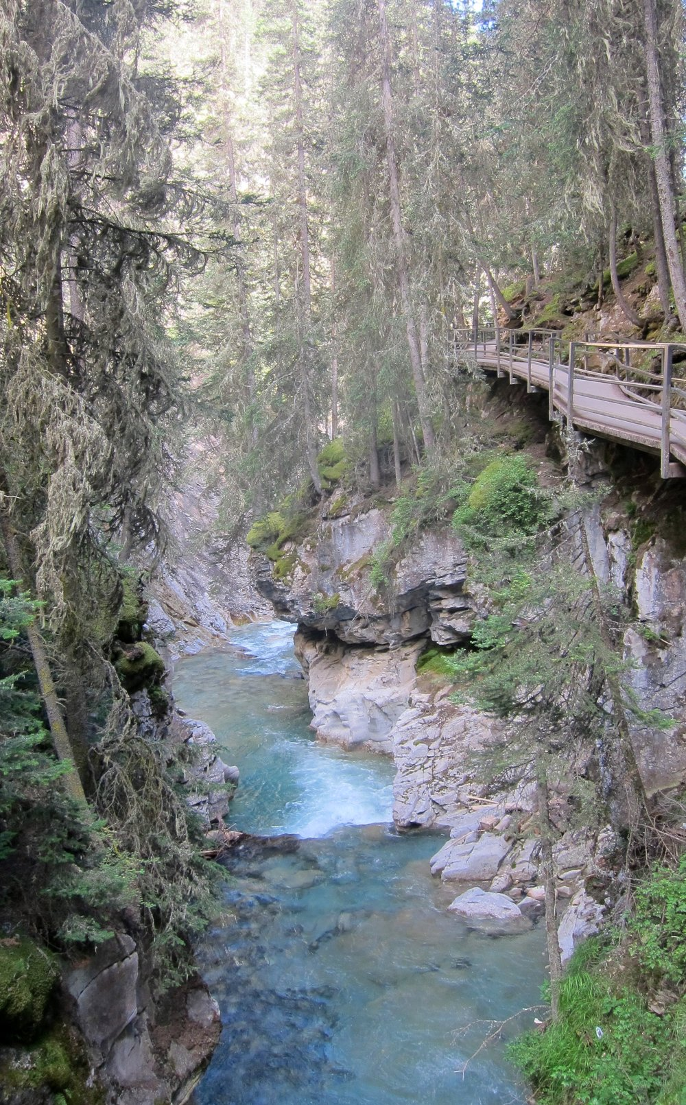 Johnston Canyon hike along the catwalk. This hike gets super crowded so go really early or really late in the day.