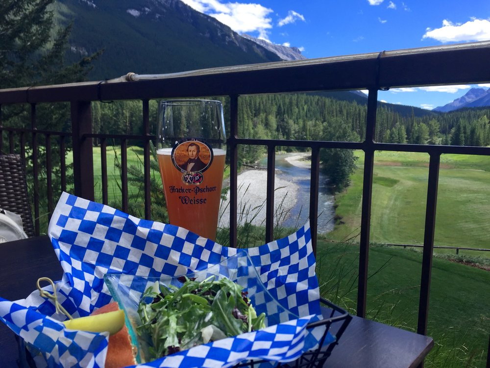 Best view in Banff is at the Fairmont hotel tucked back on the patio at the Waldhaus Pub. The pub overlooks the 15th tee and is the best place for a beer, schnitzel sandwich and a view!