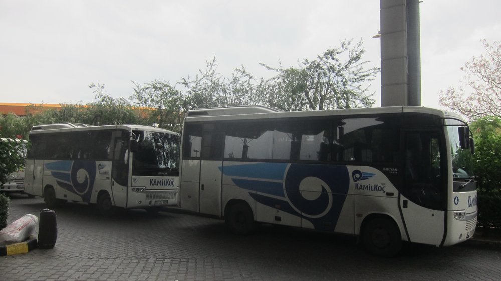 A typical line up of buses at a Turkish bus station.