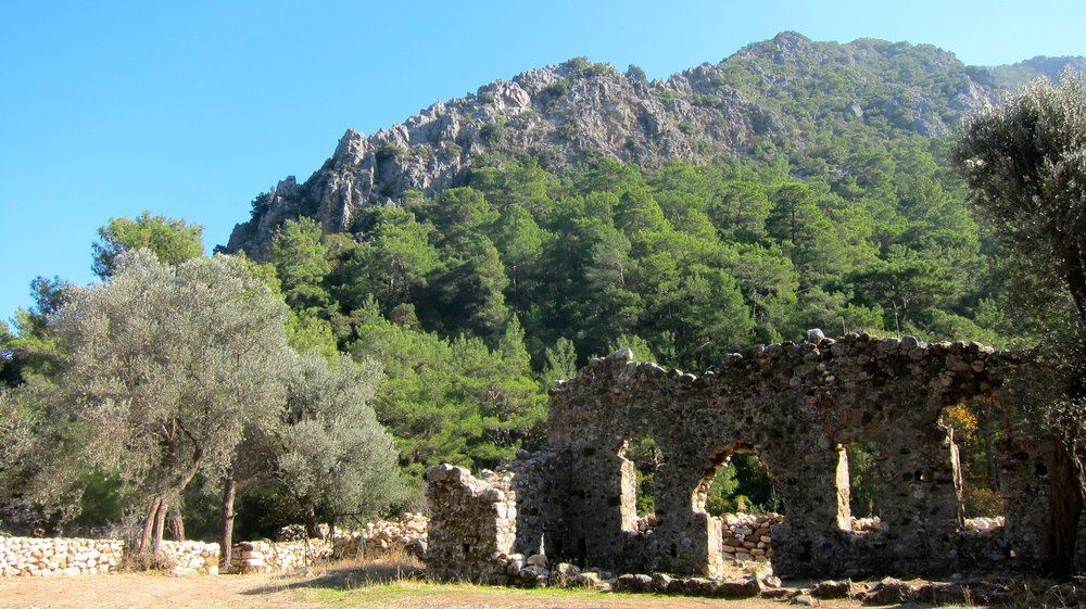 The beautiful setting and backdrop of the ancient town of Olympos, Turkey.