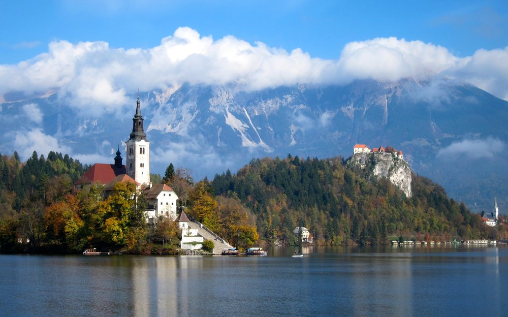 Lake Bled's island church and clifftop castle.