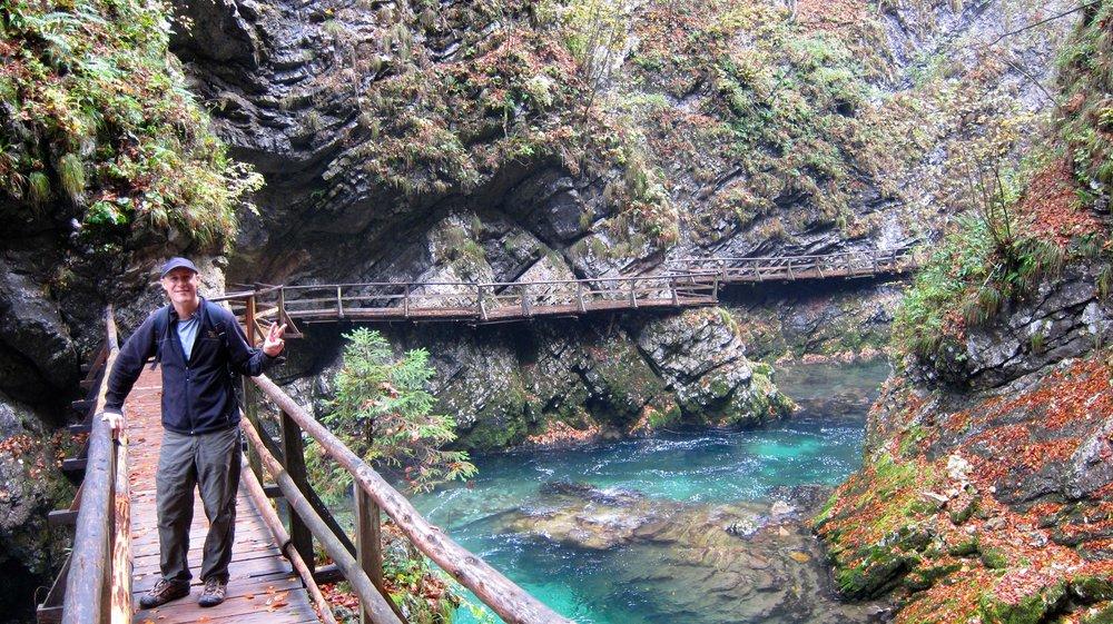 The boardwalks of Vintgar Gorge.