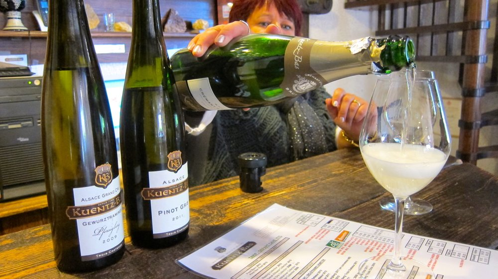 A winery in Alsace, pouring their Cremant for us. Most Cremants went for under 10 Euros!