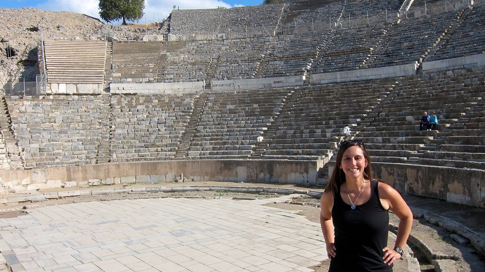 Outside the Great Theater in Ephesus.