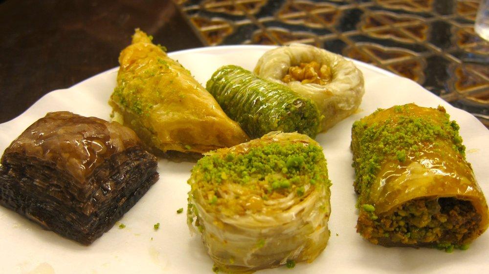A local baklava plate - four of six including pistachios.