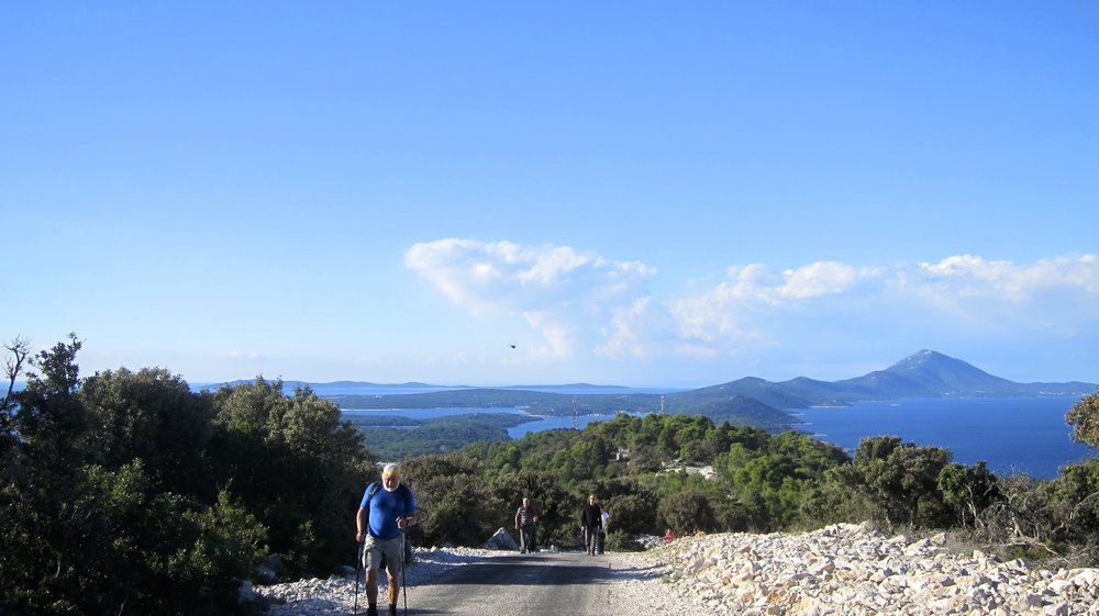 Hiking to the top of Mali Losinj with the entire island in the distance.