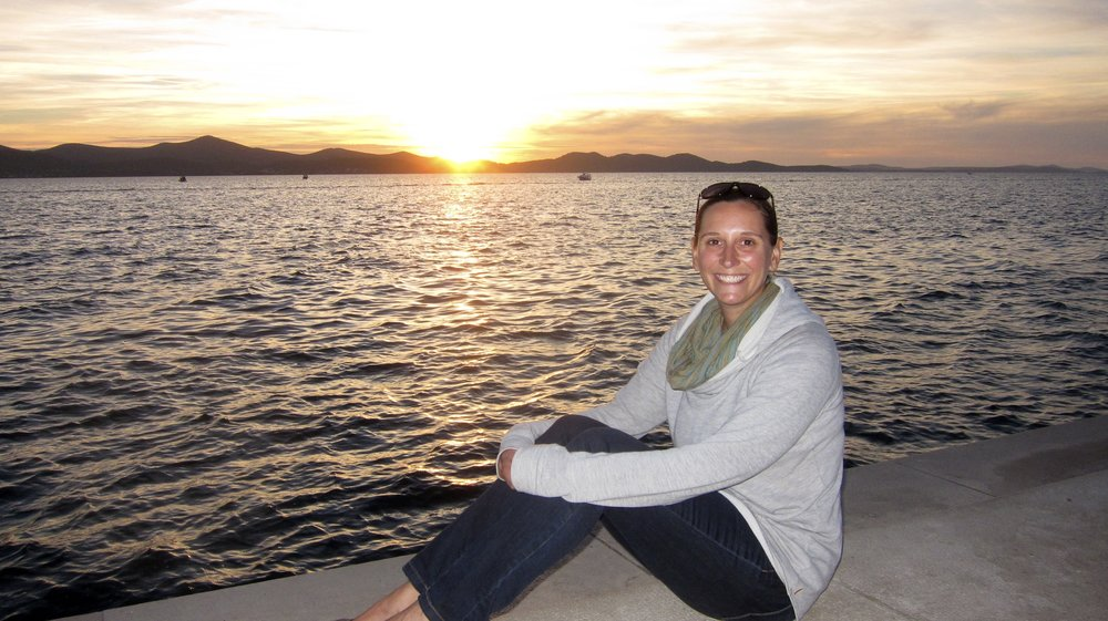 Sunset in Zadar, Croatia - sitting on top of the magical sea organ (plays music when the waves hit it).