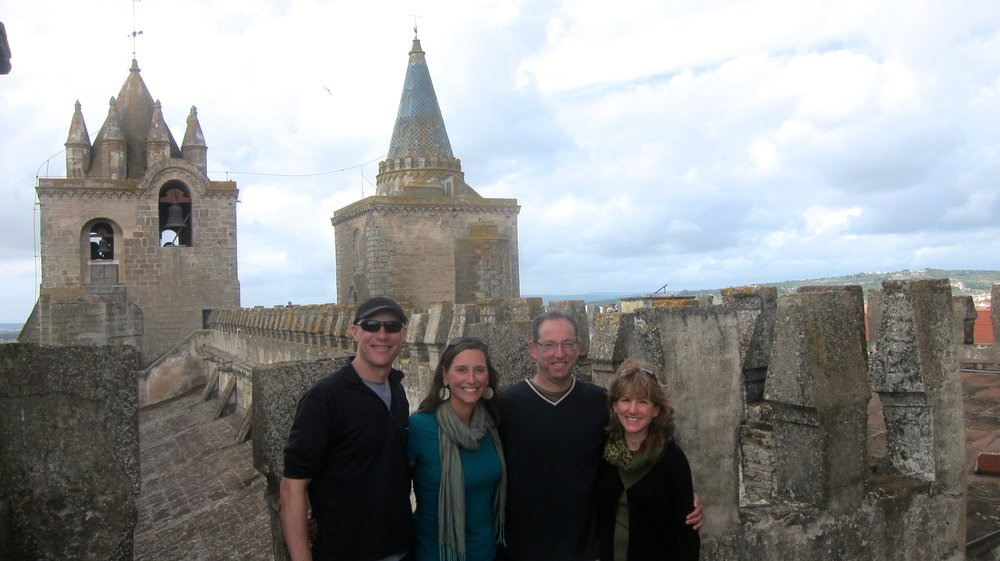 With Andy and Tracey on the terrace of Evora's Cathedral.