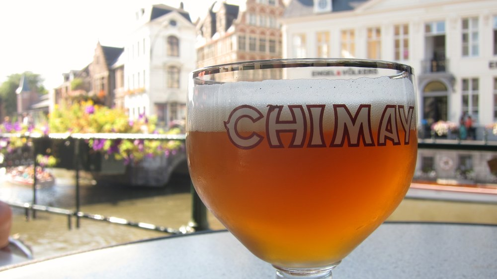 Having a Chimay, canalside in Ghent.