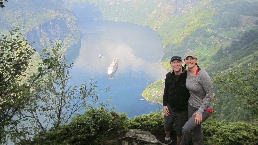 The first people up to the Losta viewpoint that morning - overlooking the fjord in Geiranger.