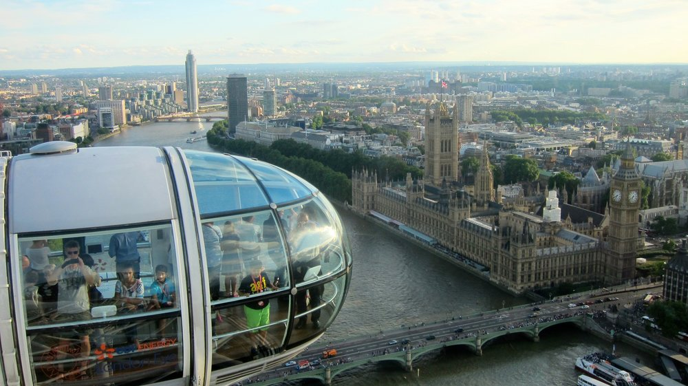 The top of the London Eye.
