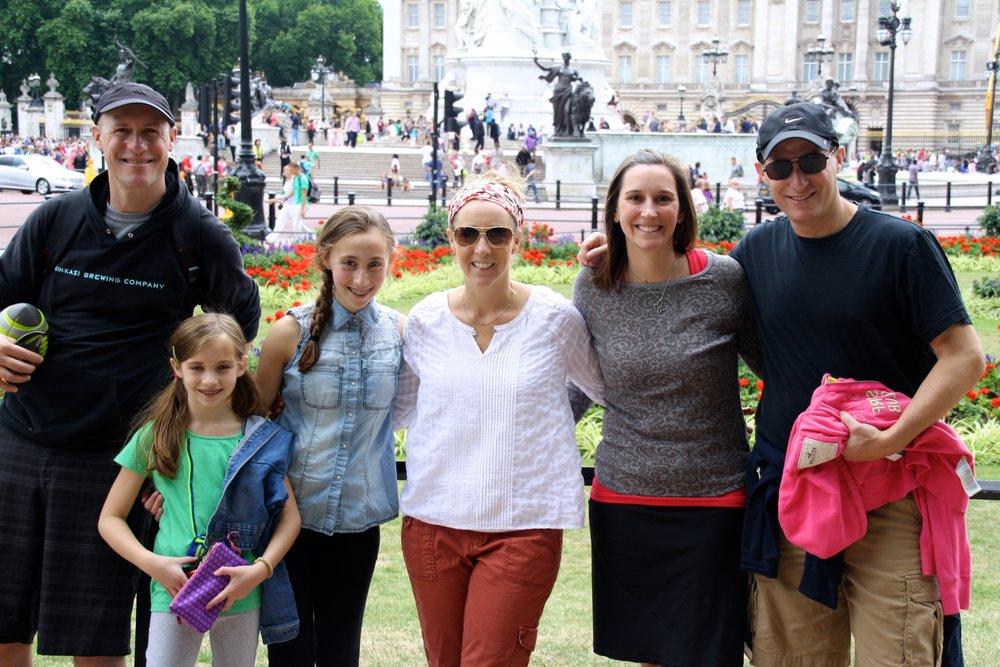 The whole family outside Buckingham Palace.