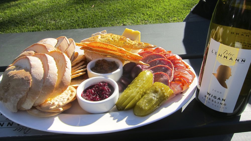 A cheese and meat platter at Peter Lehman winery. Magenta colored beetroot spread front and center.