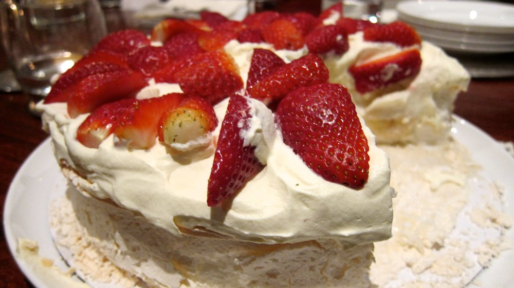 Pavlova - a meringue based dessert - sweet but tasty.