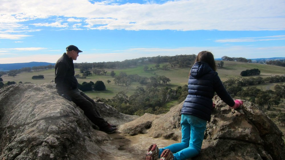 Dave and Lily looking out from Hanging Rock.