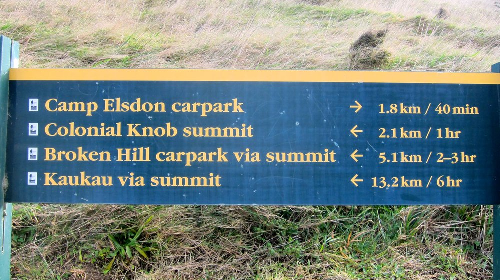 A typical trail marker in New Zealand.