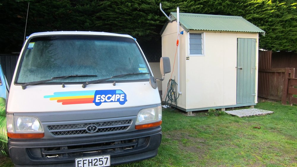 One of our better sites - our own shower and bathroom next door!