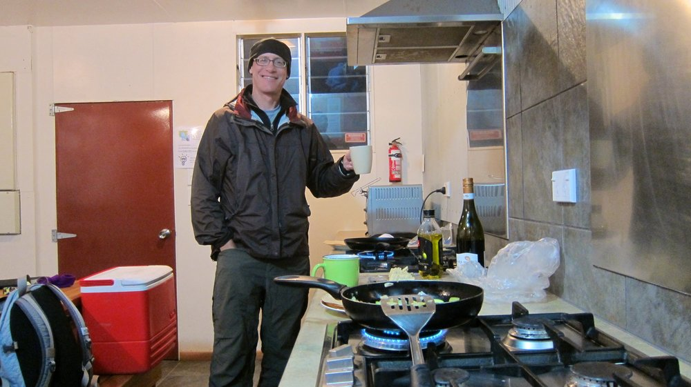 Cooking in a holiday park kitchen (where we do most of our cooking).