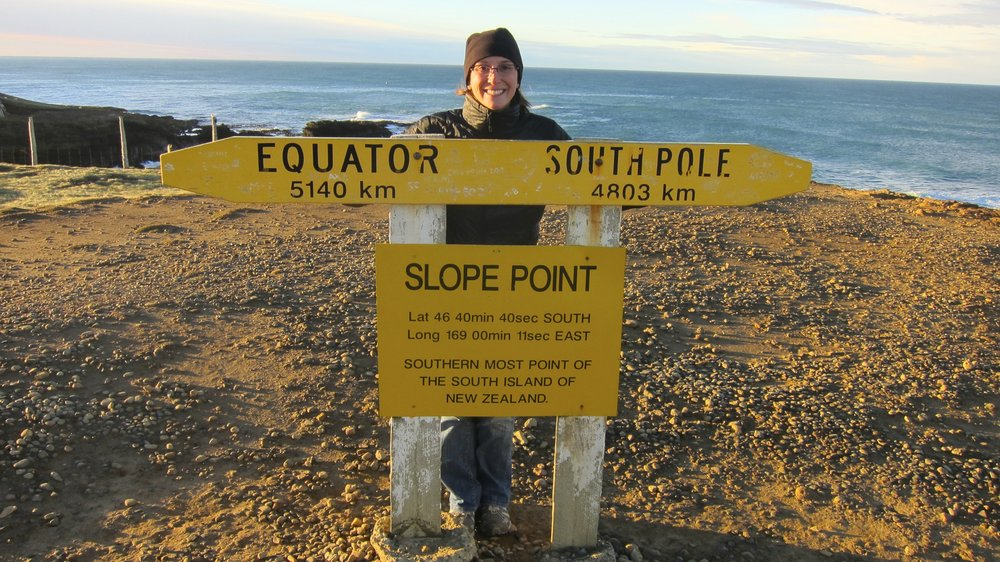 Slope Point - the farthest point south on the South Island of New Zealand.