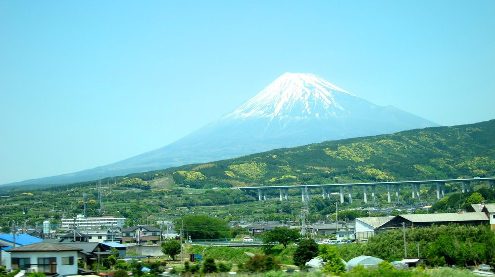 Mt. Fuji from the train window.