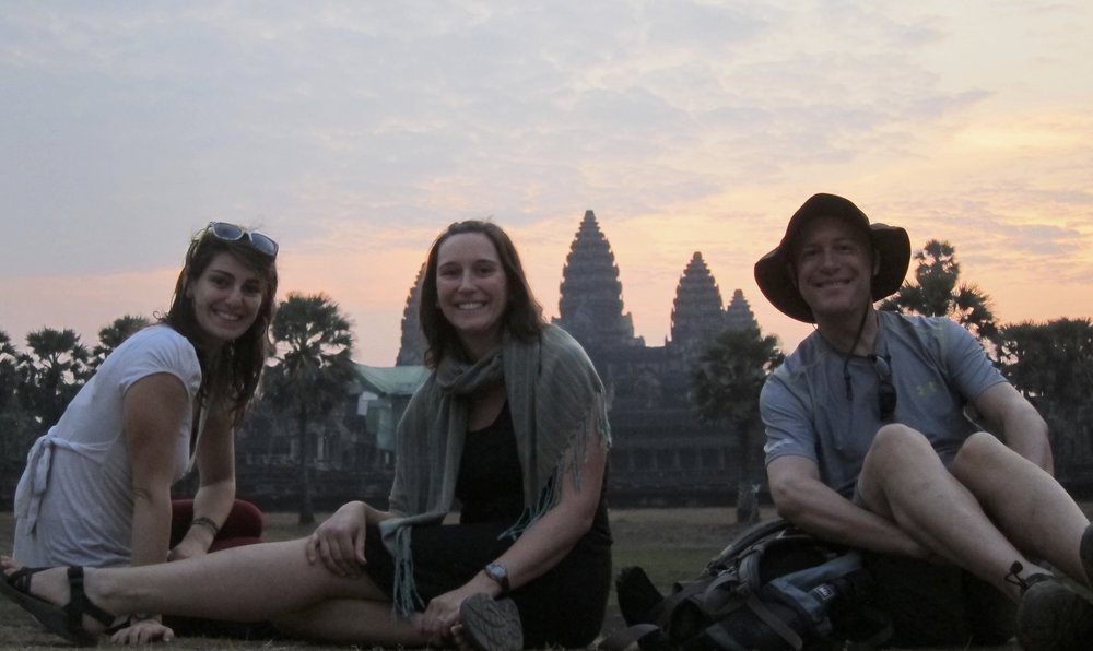 Excited for sunrise at Angkor Wat.