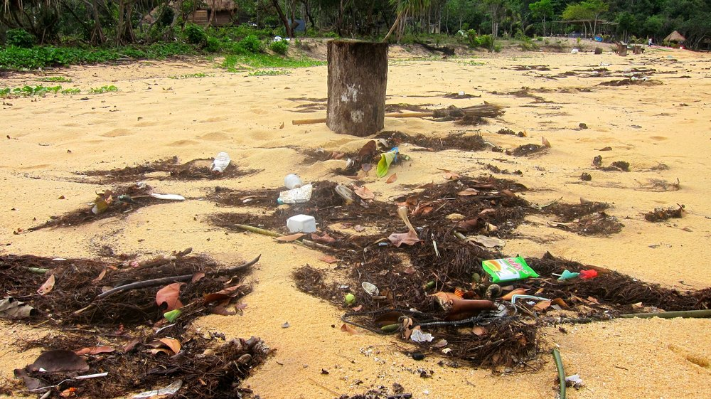 A large amount of trash washes ashore on the island after the storms.