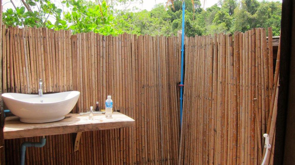 Our outdoor bathroom.