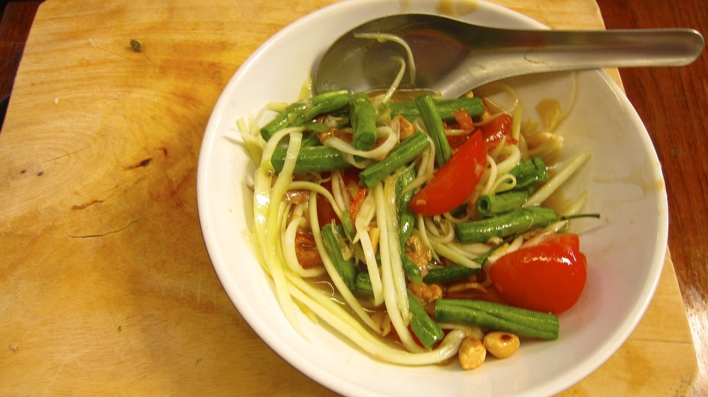 Green Papaya Salad (I went a little hard on the chilis - so spicy!)