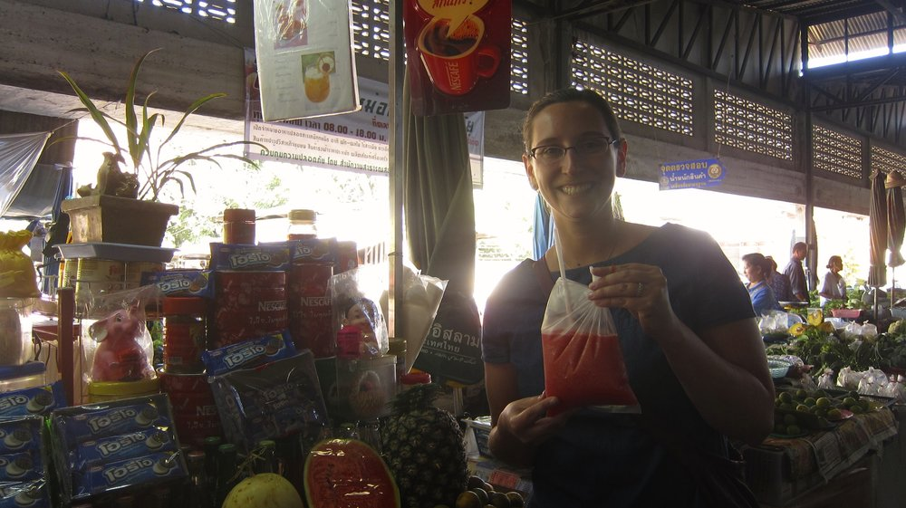 Fruit shake in a bag for 15 baht (50 cents)!