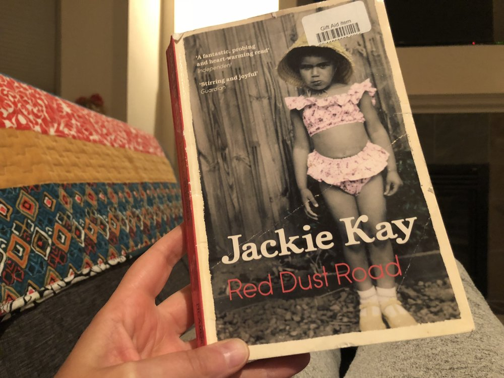 Finishing up Red Dust Road in my regular reading spot.