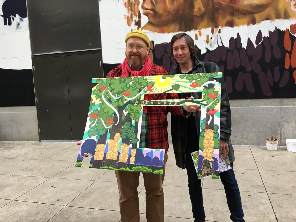 "Nathan Mason and MOA's founder, Kevin McCarthy with Kerry's original rendering ""Rush More""."