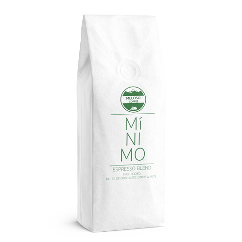 Minimo Espresso Blend - Perfect for espresso and espresso based drinks such as cappuccinos or lattes.Tasting notes of chocolate, citrus and nuts.Starting at R215/kg (Incl. VAT)
