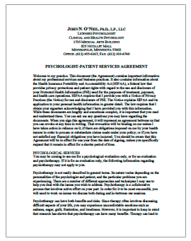 Psychologist Patient Services Agreement