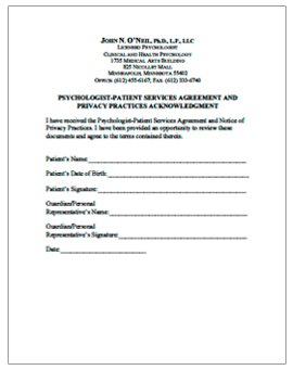 Patient Services Agreement and Privacy Practices Acknowledgement