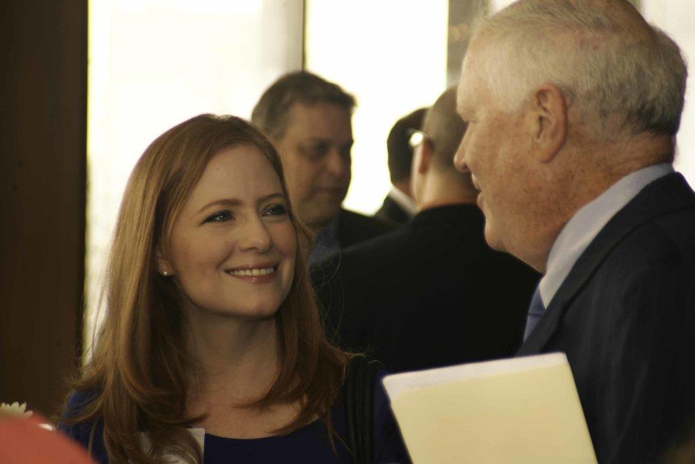 Lisa Falkenberg of the Houston Chronicle with Foundation Chair Mark Morrison