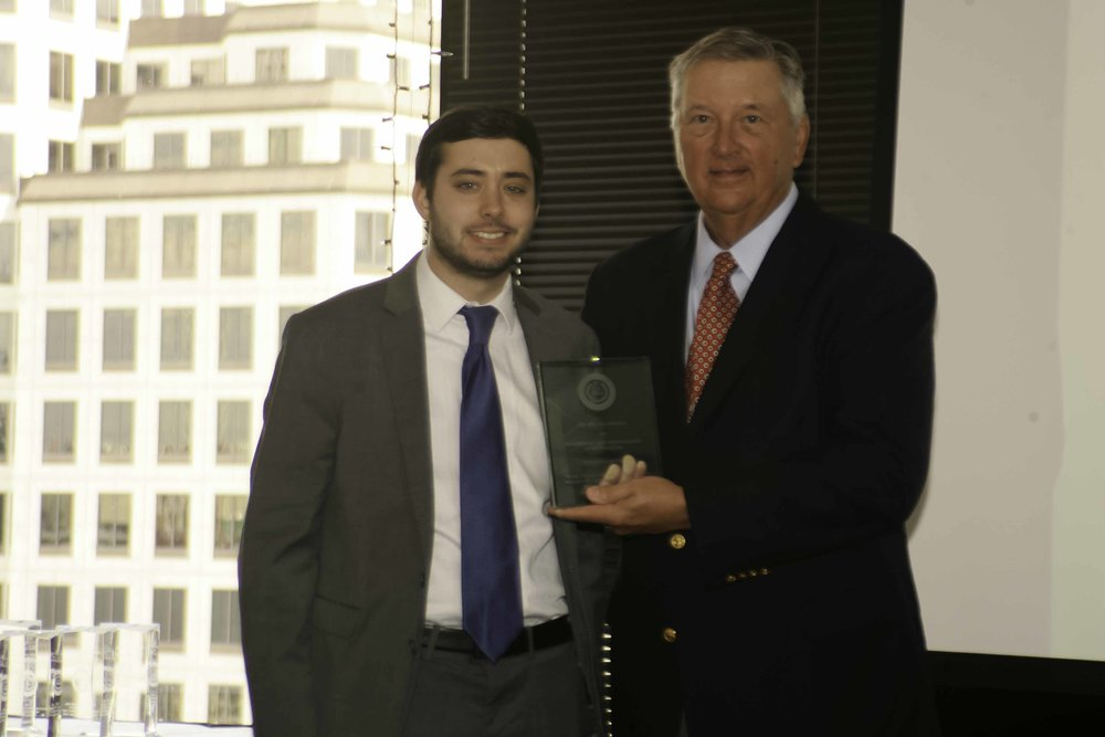 Foundation Vice Chair John Lumpkin with Reporter of the Year Brian Rosenthal, Houston Chronicle