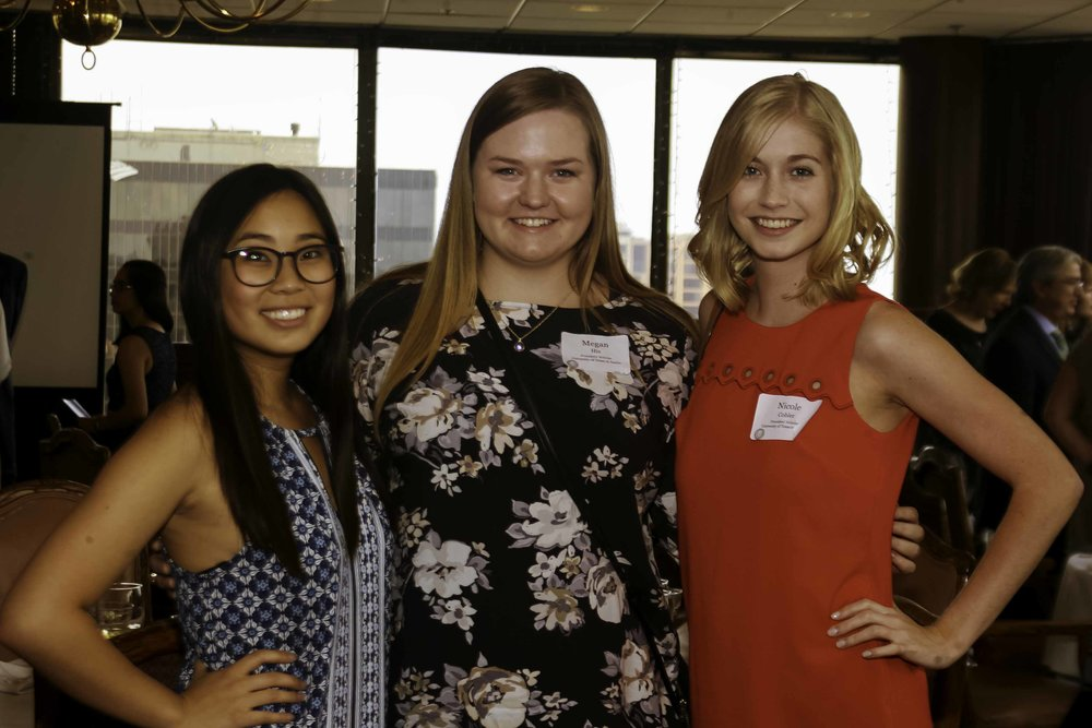 2106-17 Scholarship Winners Jackie Wang, Megan Hix, and Nicole Cobler