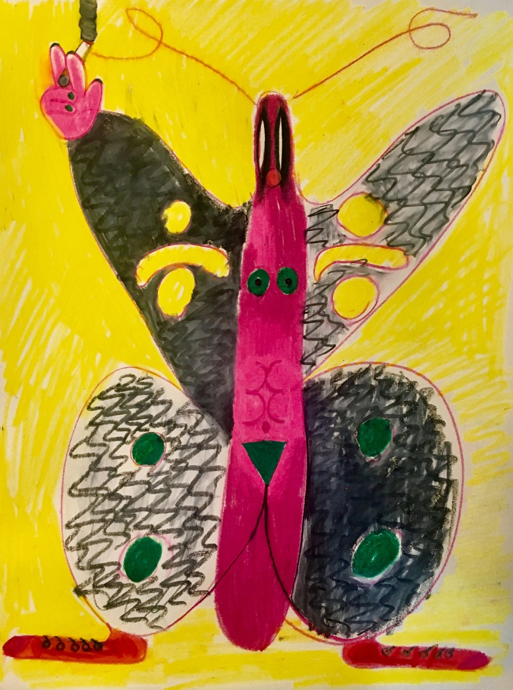 5.Smoking Butterfly, 2018, color pencil on paper, 11 x 14 in.jpg