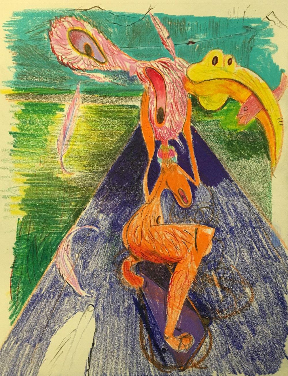 3.Orange Bird, 2018, color pencil on paper, 11 x 14 in.jpg