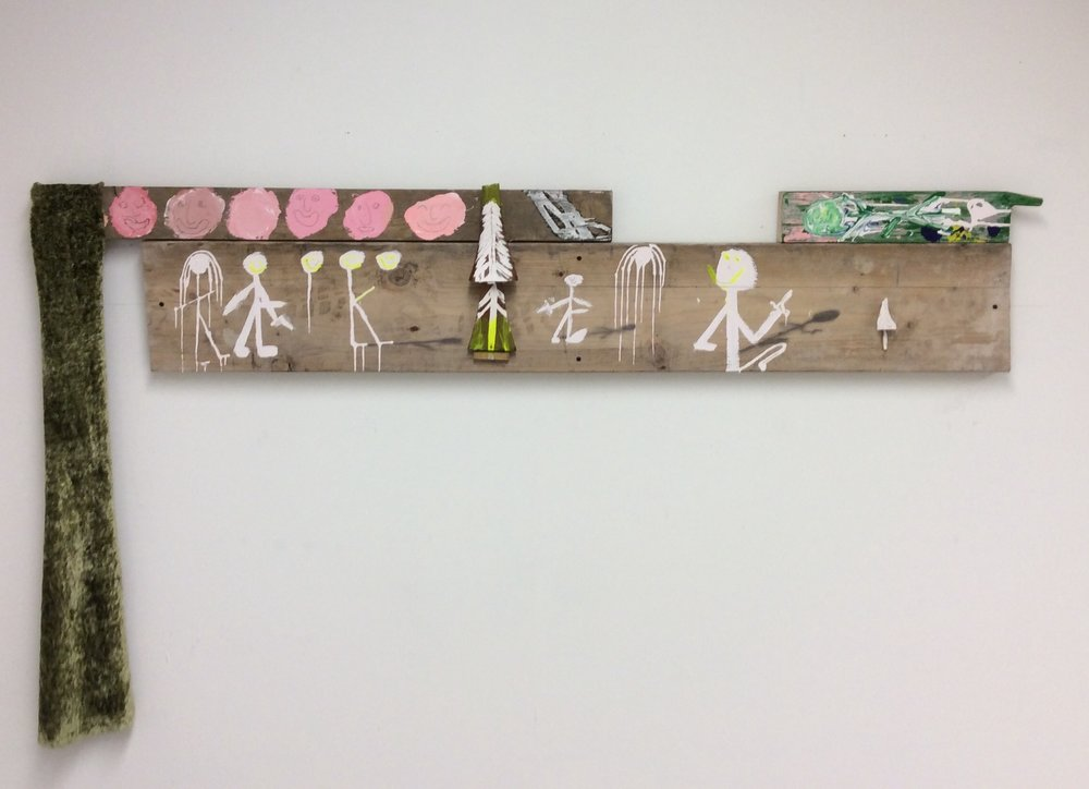 1.The Hunt, 2017, mixed media on found wood, 67 x 34 in.jpg