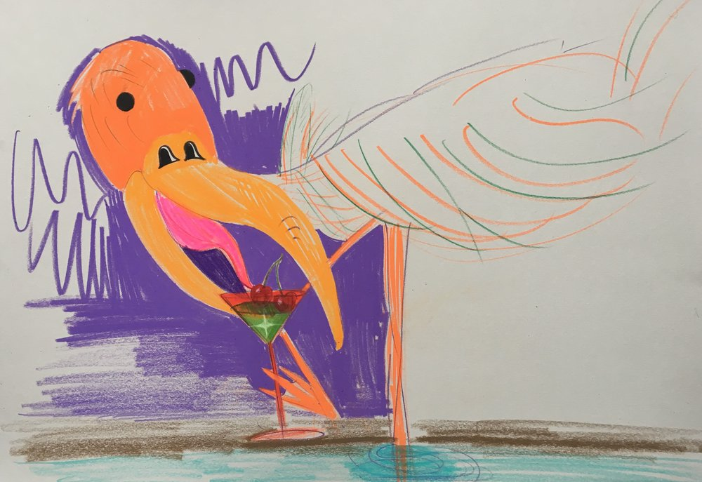 5.Bird with Cocktail, 2018, color pencil on paper, 16 x 12 in.jpg