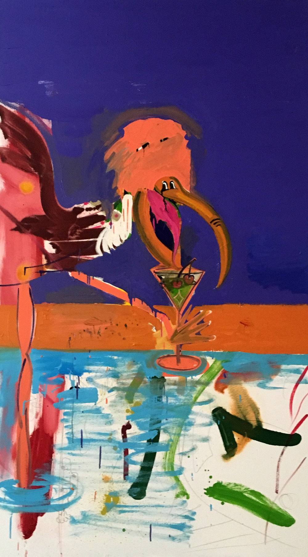 New Bird with Cocktail 2018 oil and pencil on canvas 40 x 70 in.jpg