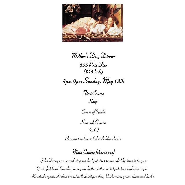 Join us for Mother's Day Dinner Sunday May 13th 4pm-9pm #mothersday #mothersdaygift #mothers #finedining