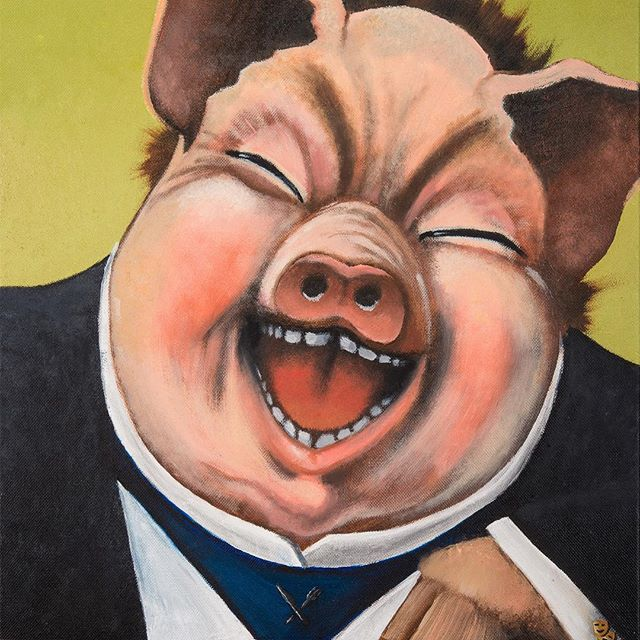 The Pandering Pig  The society we live in is full of inanity, inconsistencies and frustrations. Look at our current leader. I have to embrace absurdity and humor in order to not have my head pop off. The Pandering Pig is an absurd character. He is an absurd Bacchus. I picture him trotting around, overfilling glasses of Bordeaux, laying out succulent platters while telling a bawdy tale or two. He panders unabashedly. I mean, he's a restauranteur after all. He's just being honest about his intentions. He's a laughing pig in an immaculately tailored suit with tragedy/comedy cuff links and a knife and fork pin on his collar - who wouldn't love that?? #absurdism #humorous #characters #mascot